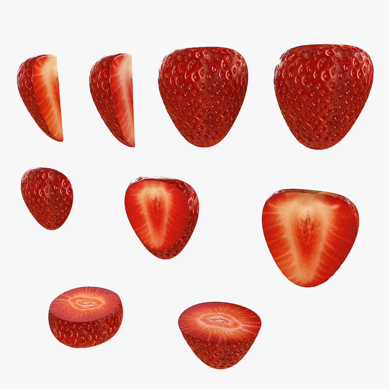 3d model strawberry fruit set berry