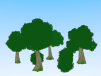 trees bushes anime cartoon 3d model