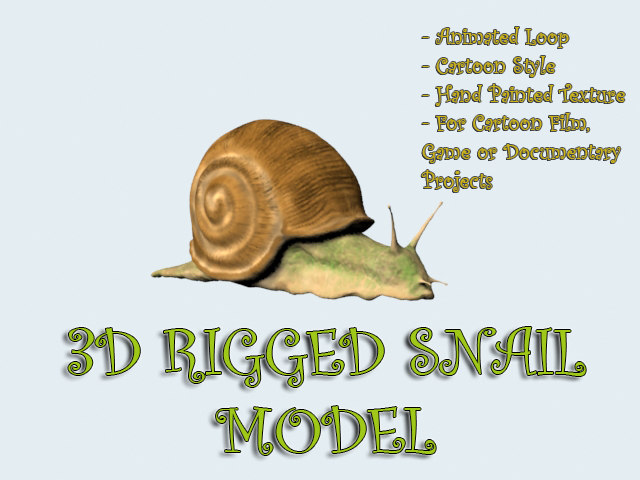 3d rigged snail cartoon animation