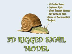 3d rigged snail cartoon animation