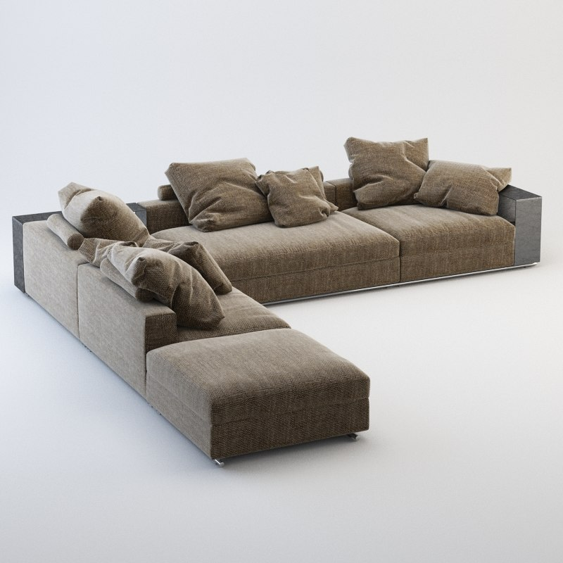 3d model realistic flexform groundpiece sofa