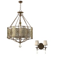 Feiss Forged Lobby Chandelier & Wall Lamp f2603