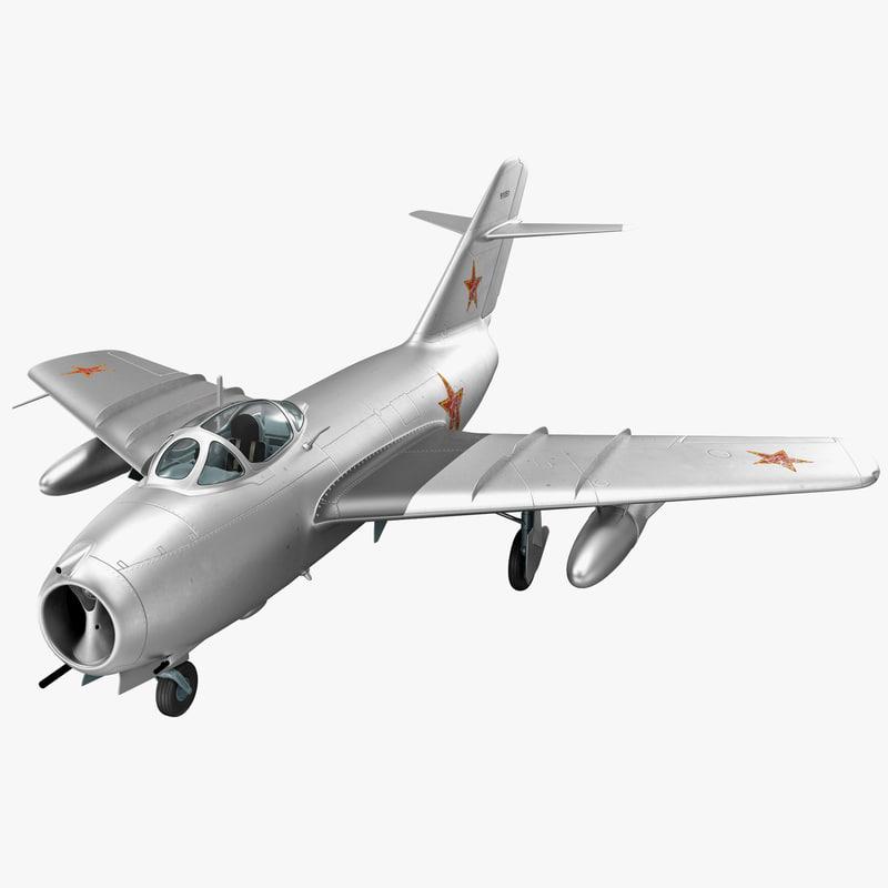 3d model jet fighter mig 15