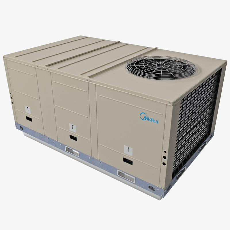 3d model rooftop heating cooling unit