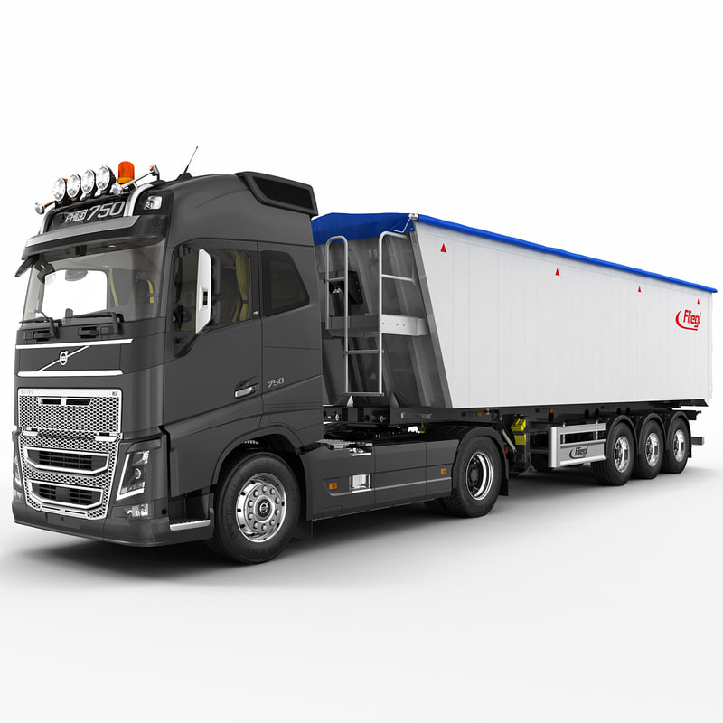 fh 2012 semi trailer 3d model
