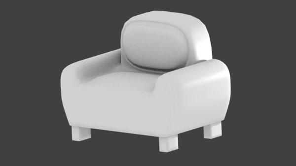3d single couch sofa non model