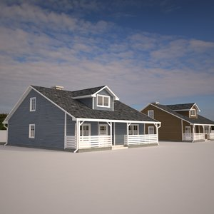 3d suburban single family house materials model