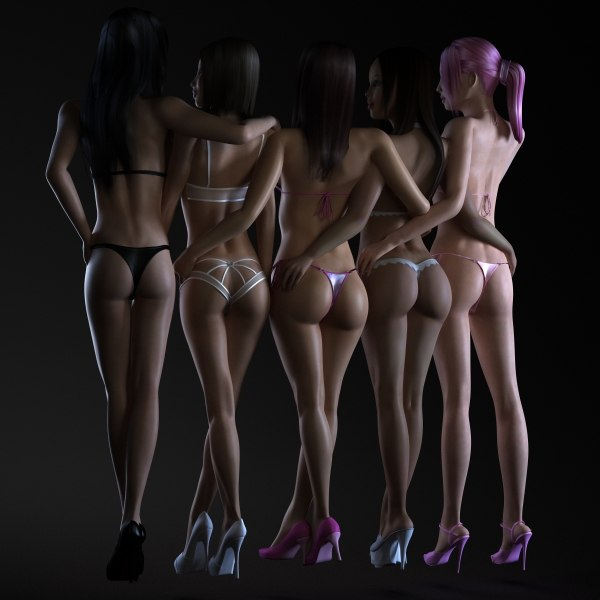 5 1 female girls 3d max