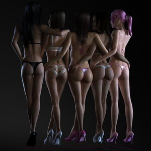 5 1 female girls 3d max