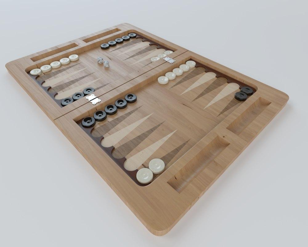 3d backgammon modern settings model