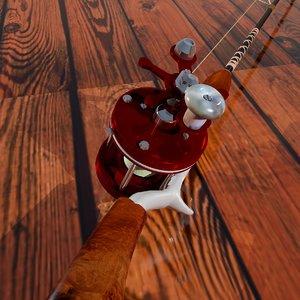 3d model bait casting reel rod