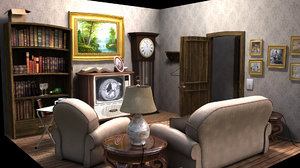 ma stylized cartoon room