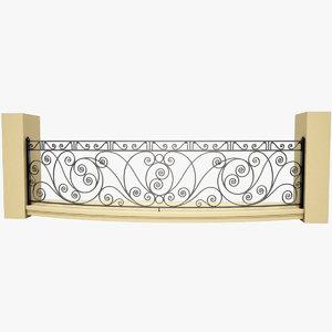 wrought iron balcony 3d model