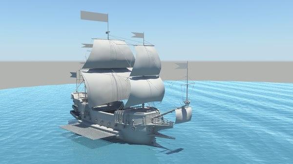 galleon ship 3d model