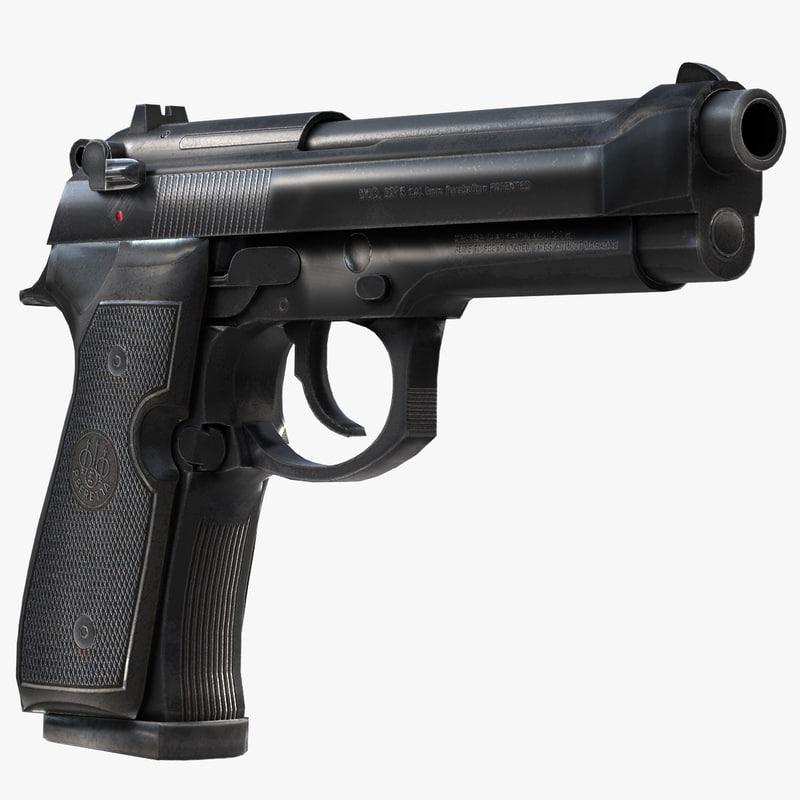 beretta pistol obj