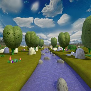 cartoon landscape stream rocks 3d model