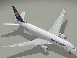 3d b lufthansa cargo 777 model