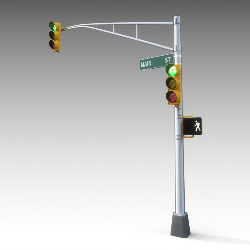 3ds traffic signal light street