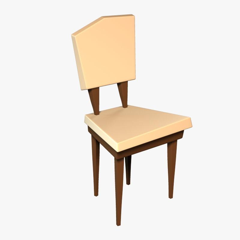3d model cartoon chair table