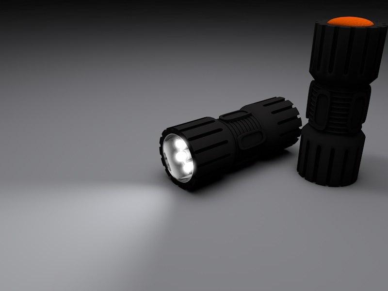 led flashlight 3d obj