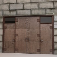 3d alley metal door brick wall