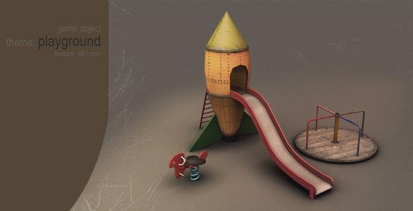 3d playground slide seesaw model