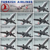 3d model plane turkish airlines fleet