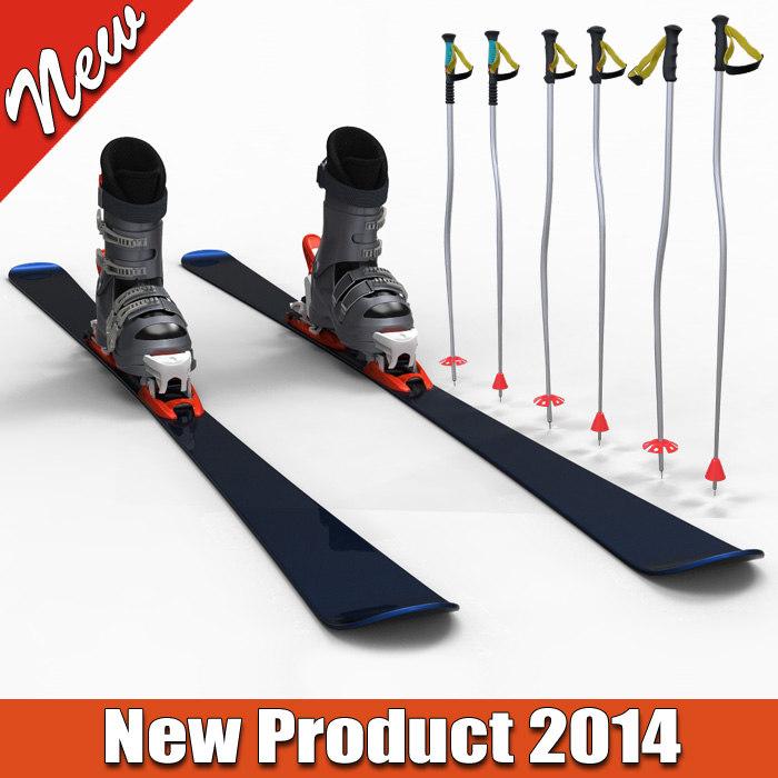 3ds max hill ski poles