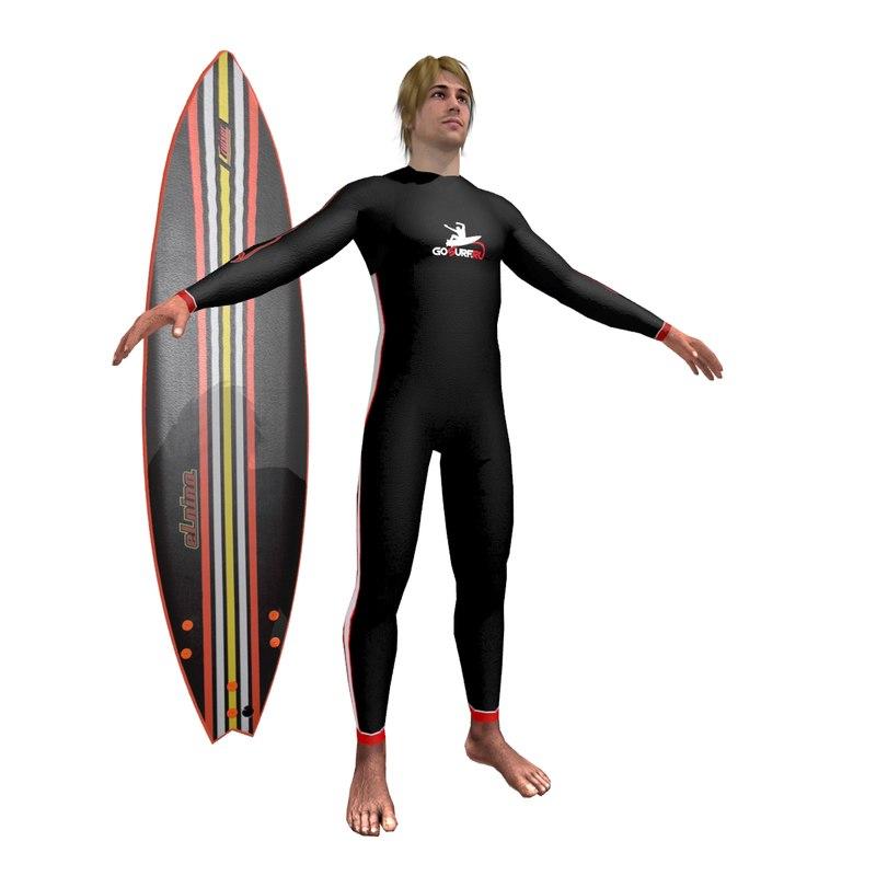 3d model surfer surfing man