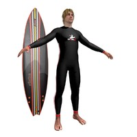 3d model surfer surfing man