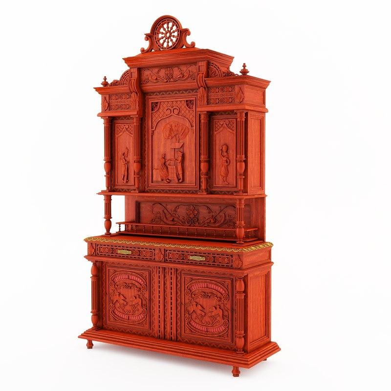 3d model furniture classical breton dining room