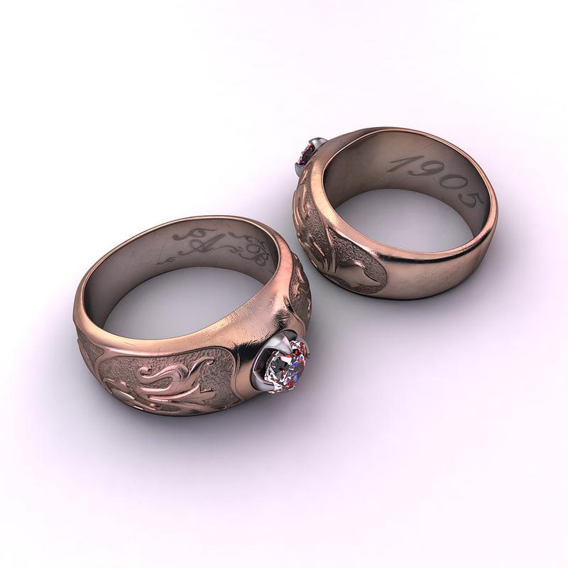 3d antique art nouveau ring model