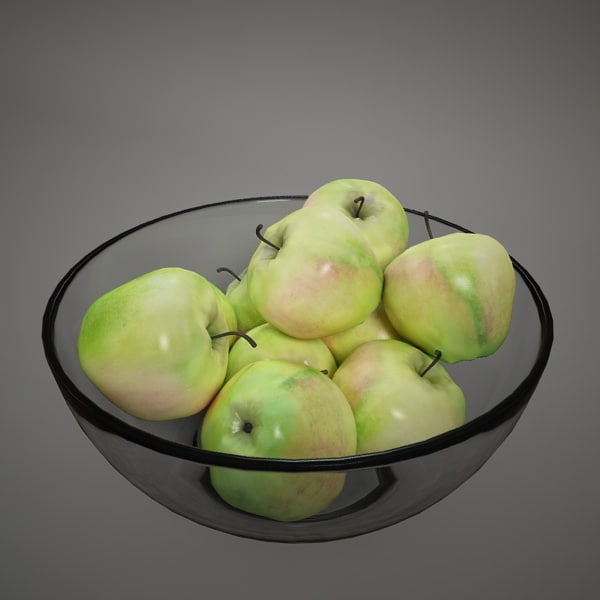 glass bowl apples 3d c4d