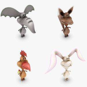 3d cartoon animals set model