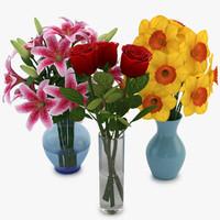 3d model bouquets vase 05