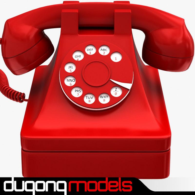 retro phone red 3d 3ds
