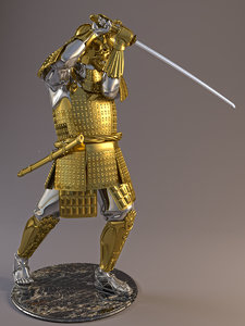 3d model statuette samurai maeda