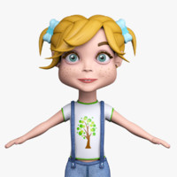 cartoon girl mia denim 3d max