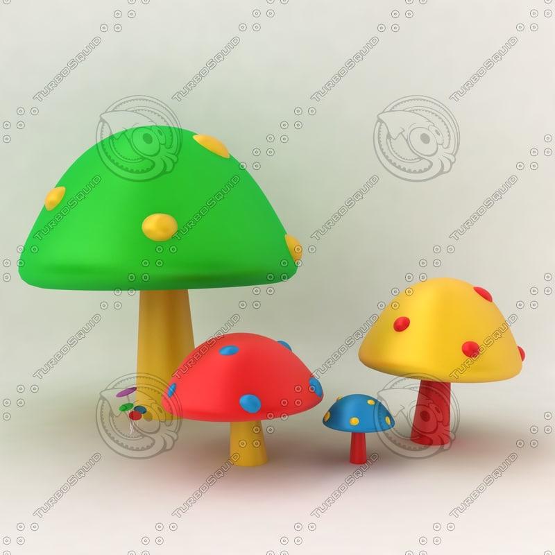 3ds max mushroom colorful