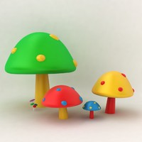 3ds max mushroom colorful