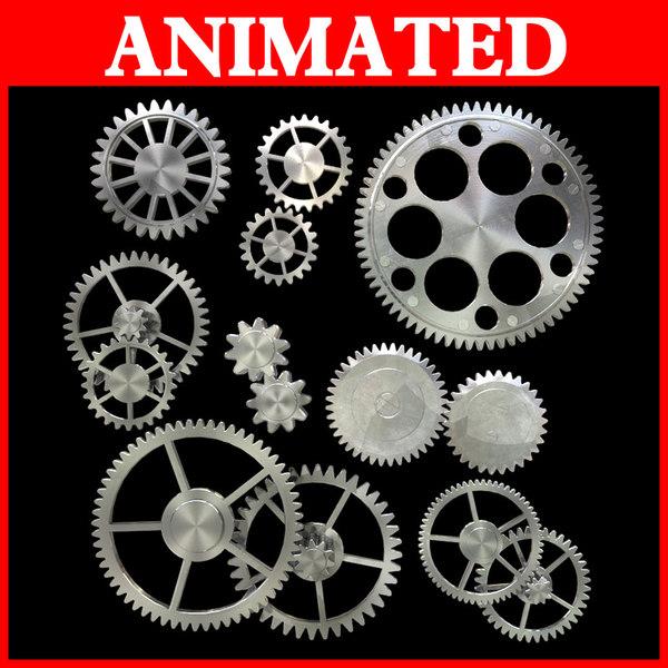 3d model kinds gear mechanical animation