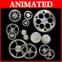 3d model kinds gear mechanical animation