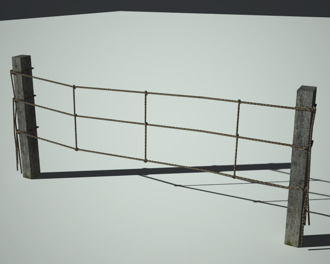 old rope fence 3d model