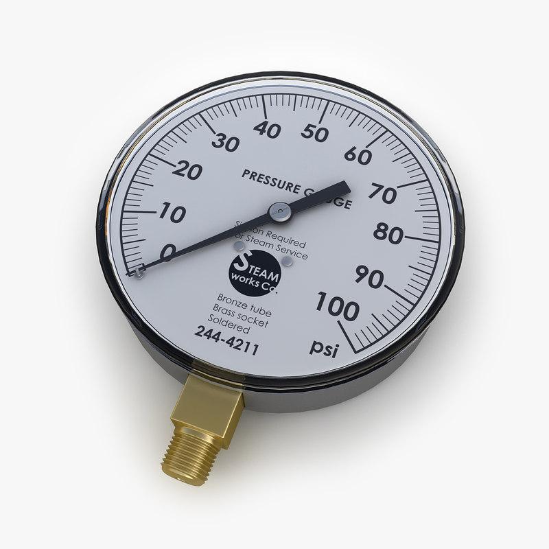 steam pressure gauge 3d model