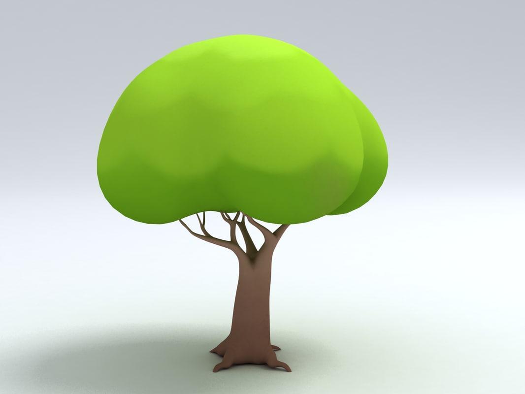simple tree cartoon 3d model