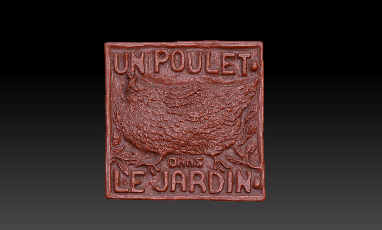 3d chicken plaque