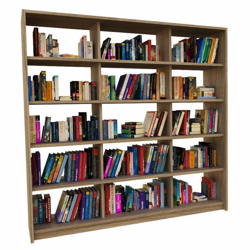 books bookcase 3d model