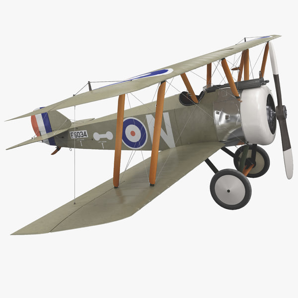 british wwi biplane fighter 3d model