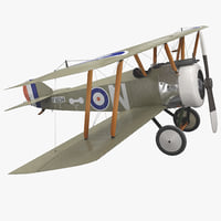 british wwi biplane fighter 3d model