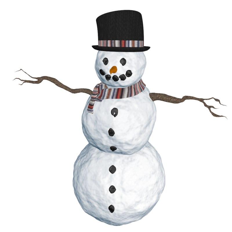 snowman branch scarf 3d 3ds